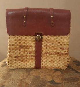 Pre-Owned Women's Leather & Straw Satchel Handbag