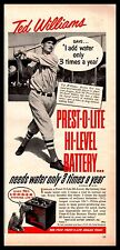 1950 TED WILLIAMS Boston Red Sox Baseball Prest-O-Lite Battery Photo AD