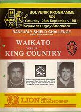 #YY. NEW ZEALAND  RUGBY UNION PROGRAM, WAIKATO V KING COUNTRY, 26/9/1981