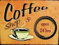 "TIN SIGN ""Coffee Shop 5 Cents"" Caffeine Deco  Garage Wall Decor"