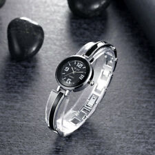 Rhodium Plated Case Black Dial With Black Metal Bangle Women's Watch