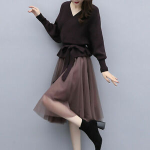 2Pcs Women V Neck Knitted Jumpers Pullover Sweater Fashion Mesh Skirt Dress Suit