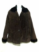 Pacific Trail Women Leather Jacket Coat Faux Fur lined Dark Brown Sz Large