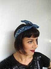 Bandeau foulard cheveux rigide modulable cordon maléable jean denim bleu étoiles