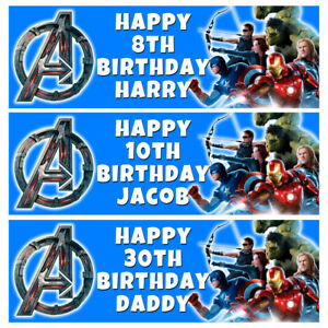 MARVEL AVENGERS Personalised Birthday Banner - Birthday Party Banner - 1x3ft