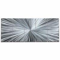Large Starburst Original Metal Art Modern Silver Decor Contemporary Wall Artwork