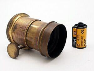 Antique Brass Rack & Pinion Petzval Portrait Lens 5 Inch, UK Dealer