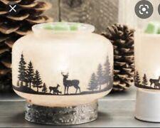 Scentsy Wildlife Wax Warmer w Birchwood Base ~ NEW Glass With Deer & Moose