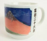 Mino ware Japanese Ceramics Jumbo Mug Cup Red Mt. Fuji made in Japan 600ml
