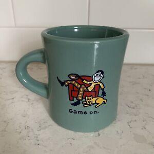 Life Is Good Home Game On Coffee Tea Mug Green Football Fan Guy Dog