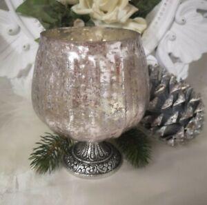 Lantern Glass Lantern Candlestick Holder Tealight Holder Pink Shabby