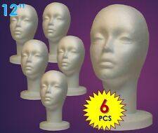 "WIG FEMALE STYROFOAM HEAD FOAM MANNEQUIN DISPLAY 12"" (6PCS)"