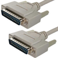 Quality 3 Metre Parallel Cable DB25 25 Pin Lead GOLD Serial RS232 Male to Male