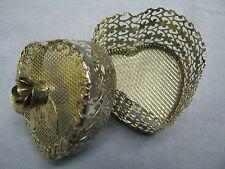 Silverplated Metal Filigree Heart Trinket Box w/Sculptured Rose Lid-Ec