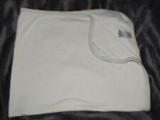 JUST ONE YEAR BABY BLANKET COTTON RECEIVING SWADDLE TAN BROWN WHITE STRIPE