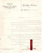 Document 18/04/1934 Légation et CONSULAT de FRANCE à SAN SALVADOR