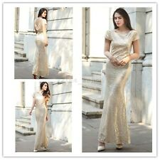 Women Gold Evening Party Prom Cocktail Wedding Bridesmaid Formal Long Gown Dress