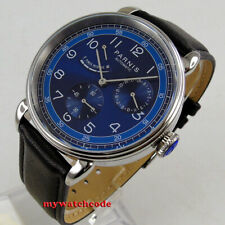 42mm PARNIS blue dial power reserve date window sea-gull automatic mens watch
