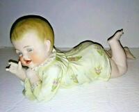 Antique Gebruder Heubach Piano Baby Lying Down Crawling German Bisque Porcelain