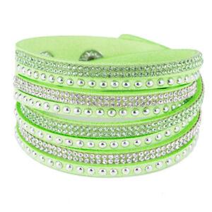 Multilayer Leather Wrap Wristband Cuff Punk Crystal Rhinestone Bracelet Bangle