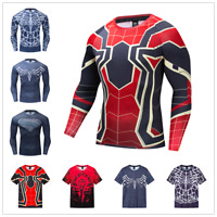 Men's Marvel Compression Armour Base Layer Top Superhero Spiderman  T-shirt