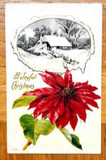 Vintage CHRISTMAS Window Black/white Picture of a Snow Covered Home postcard