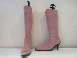 RUSSELL AND BROMLEY LONDON PALE PINK SUEDE LONG ZIP UP BOOTS UK 6 EU 39 (3588)