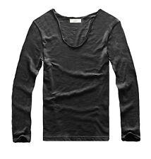 Zecmos Mens Cotton T Shirts Long Sleeve Basic Tees Color Wine Red Size L Sale