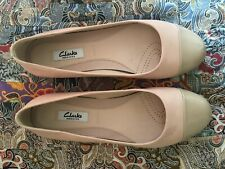 CLARKS Narrative WIDE FIT NUDE PINK Leather & Patent Toe Ballet Flats Size 5