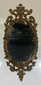 """Wall Mirror Gold Tone Plastic Frame Vintage Victorian Style 23""""h x 11""""w Syroco"""