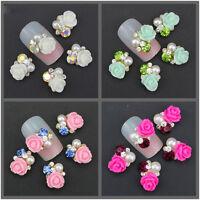 10pcs 3D Pearl Resin Rose Flower Crystal Rhinestone Nail Art Slices DIY Decor