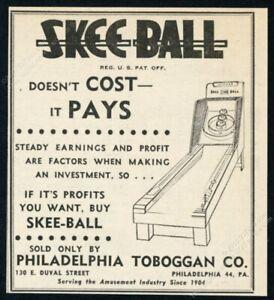 1956 Skee Ball coin-op arcade game machine art vintage trade print ad