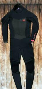 NWT 160$ billabong 4/3 Synergy BACK Zip Fullsuit Black Wetsuit JWFUGSB4 *0