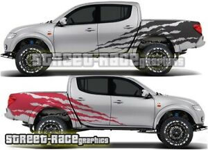 Mitsubishi L200 063 shredded ripped stickers decals graphics 4x4 off-road