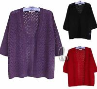 AU SELLER Womens plus Size Hollow Knitted 3/4 Sleeve Cardigan Sweater Top T055