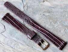Oxblood 12mm Seiko vintage ladies watch strap lizard print leather Seiko buckle