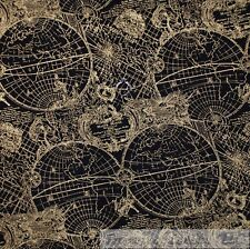 BonEful Fabric FQ Cotton Quilt Black Gold Metallic Globe World Map Nautical RARE