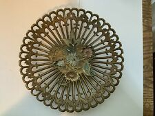 Vintage Brass Pedestal Dish Floral Made In India