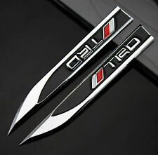 2pcs Auto Car Metal Knife Badge Emblem Decal Sticker For Black TRD Racing sports