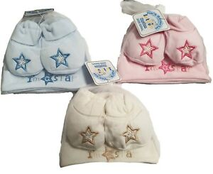 BABY BOY GIRL HAT & BOOTEE SET WITH MOTIFF IM A STAR NEWBORN - 3 MTHS