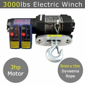 12V 3000lbs 3000lb Electric Winch Dyneema Rope ATV Quad Boat 4x4 Car Synthetic
