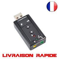 Externe USB Carte Son 7.1 Canaux 3D Audio Adaptateur 3.5mm Casque MIC  PC Bureau