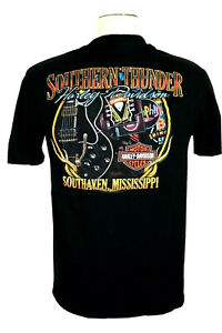 Southern Thunder Harley Davidson Southaven, MS Men's L Black Pocket T-shirt, EUC