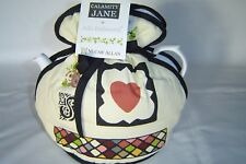 Muff / Open Top Tea Cosy British Made Calamity Jane.  Modern Fun Black & Cream