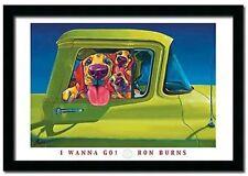 I Wanna Go Car Ridge Dog 24 X 28 Ron Burns Art Framed