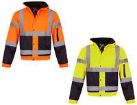 Hi Vis Visibility Bomber Workwear Security Hooded Waterproof Work Wear Jacket