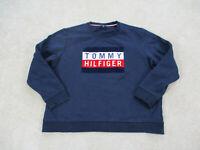 Tommy Hilfiger Sweater Adult 2XL XXL Blue Spell Out Box Logo Flag Mens B96 *