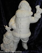 Ceramic Bisque Millenium Santa Ringing in the New World 40cm Tall