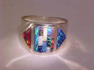 8 Unisex Wide BRILLIANT RED BLACK Cornrow FIRE OPAL Ring Sterling Silver $325