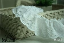 "1yds Broderie Anglaise gathered eyelet lace trim  2.4"" white YH1423 laceking2013"